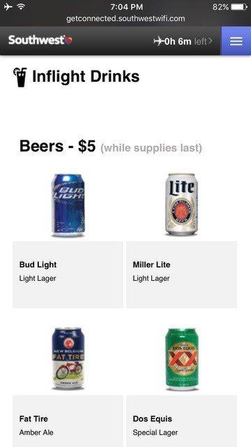 Southwest Inflight Drinks